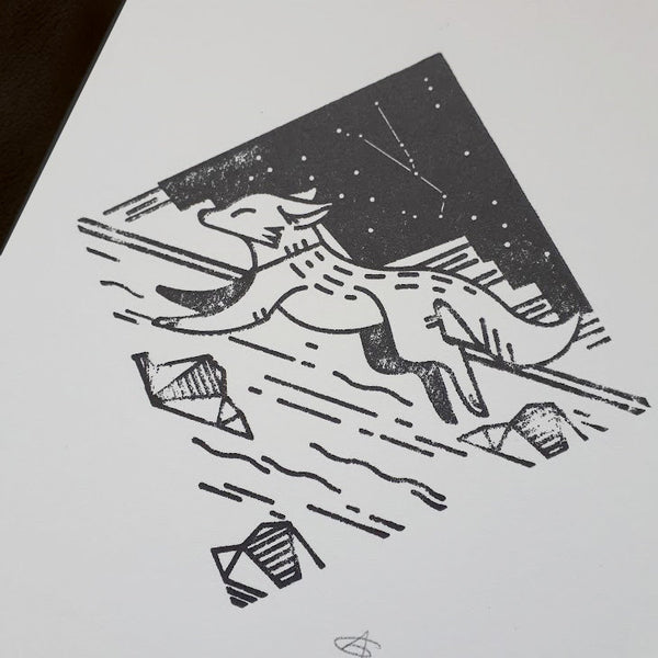 Canadian Arctic Fox - Signed 5x7 Letterpress Print