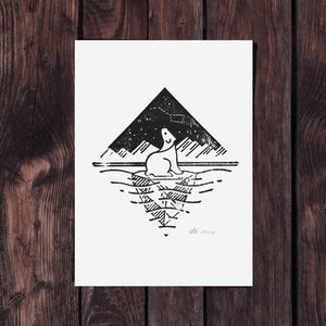 Letterpress Polar Bear – Signed 5x7 Print