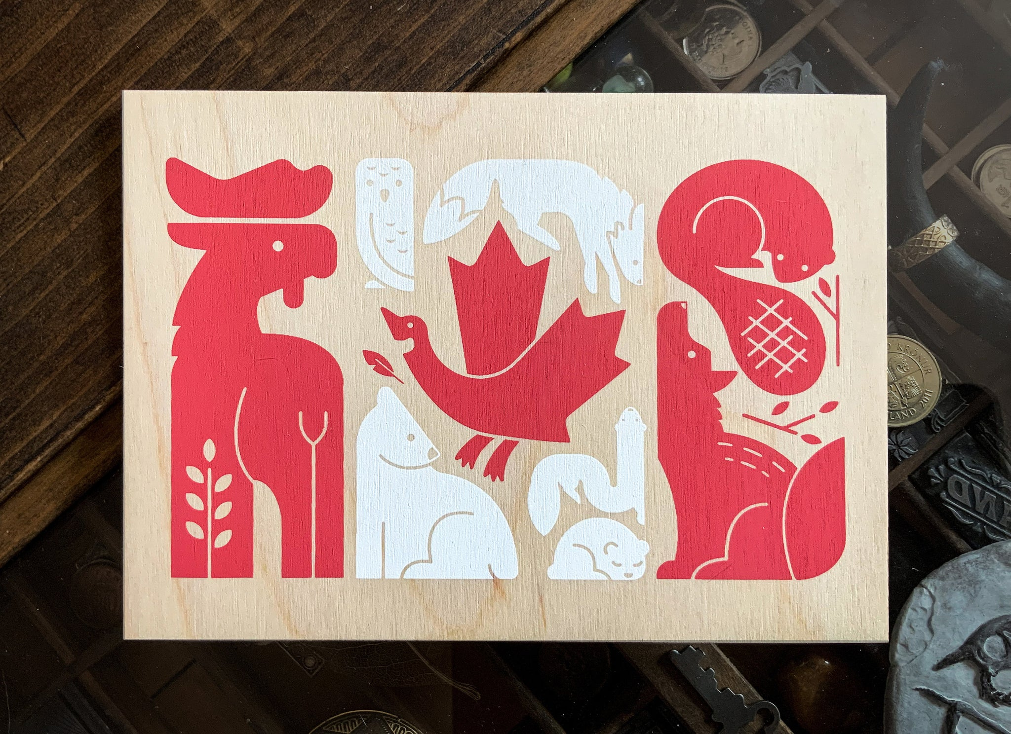 Canada Flag on Birch Wood - Signed 5x7 Screen Print