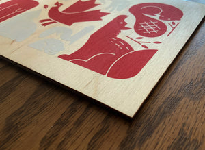Canada Flag on Birch Wood – Signed 5x7 Screen Print