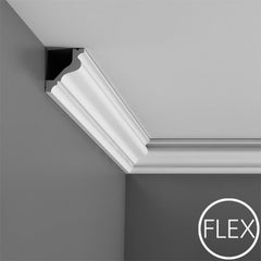 FC200-Flexible Plain Polyurethane Crown Molding, Flexible, Primed White. Face: 3-3/8