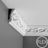 FC201 - Flexible Decorative Polyurethane Crown Molding, Flexible, Primed White. Face: 4-15/16