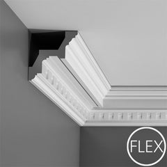 FC211-Flexible Decorative Polyurethane Crown Molding, Flexible, Primed White. Face: 6-1/4