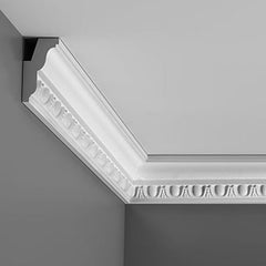 FC212 - Flexible Decorative Polyurethane Crown Molding, Flexible, Primed White. Face: 3-3/8