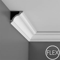FC213-Flexible Plain Polyurethane Crown Molding, Flexible, Primed White. Face: 4-1/2