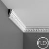 FC214 - Flexible Decorative Polyurethane Crown Molding, Flexible, Primed White. Face: 2-13/16