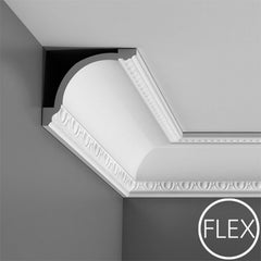 FC216-Flexible Decorative Polyurethane Crown Molding, Flexible, Primed White. Face: 7