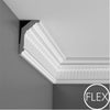 FC304 - Flexible Decorative Polyurethane Crown Molding, Flexible, Primed White. Face: 5-1/2