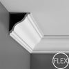 FC333-Flexible Plain Polyurethane Crown Molding, Flexible, Primed White. Face: 6-11/16