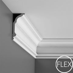 F339-Flexible Plain Polyurethane Crown Molding, Flexible, Primed White. Face: 6