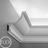 FC901-Flexible Plain Polyurethane Crown Molding, Flexible, Primed White. Face: 7-11/16