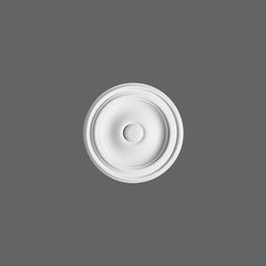 R-07-Luxxus Plain Polyurethane Ceiling Medallion, Primed White. Diameter: 10-1/4