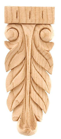 Long Applique - applique, decorative appliques, wood craft rosettes, wall appliques, floral wood carving aplique, oak carvings, appliques for sale