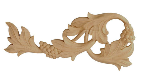 Scroll- handmade wood, carved wood trim, wooden scrollwork,quality woodworking, oak appliques, embossed wood appliques, kitchen cabinet appliques