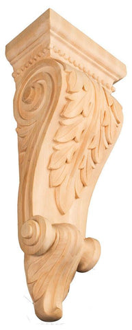 Acanthus Leaf Corbel - modern corbels, contemporary corbels, wood carved animals, embossed wood carvings, kitchen island corbels