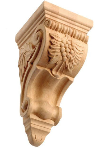Corbell with Grapes - wooden kitchen style corbels, grape corbels, floral corbels, decorative wall corbels, hidden corbels, antique wooden corbels,arts and crafts corbels
