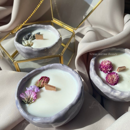 MINI LILAC CERAMIC CANDLE