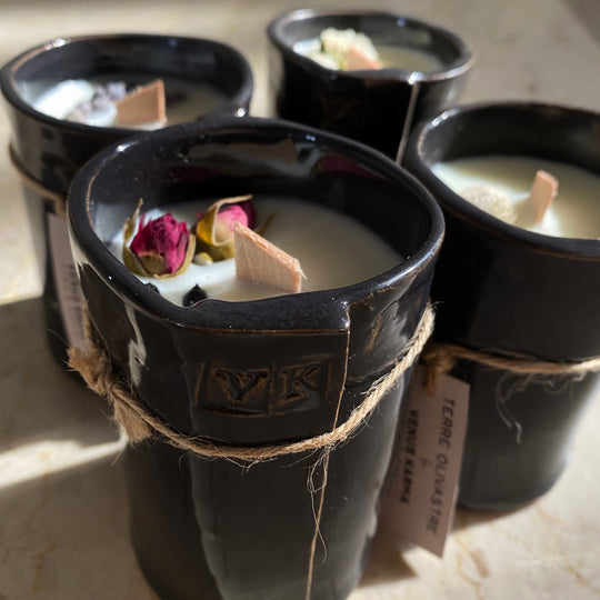 BLACK CERAMIC JAR CANDLE