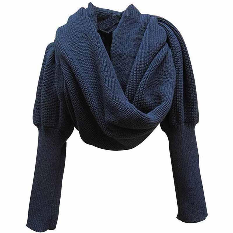 Knitted Wrap Scarf With Sleeves