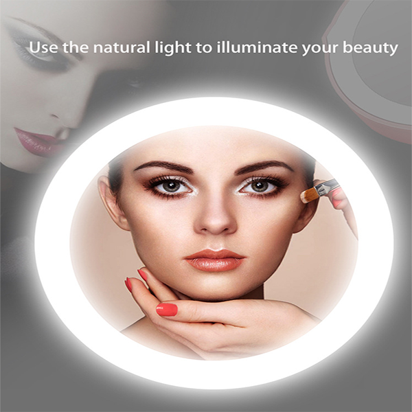 Portable folding led charger cosmetic mirror with lamp