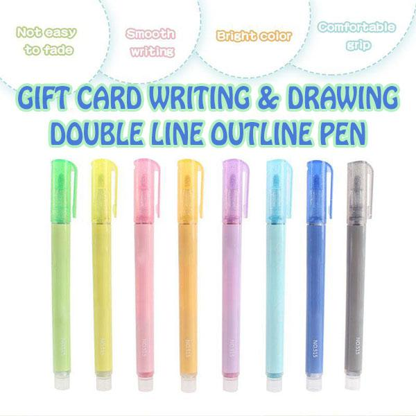 Gift Card Writing & Drawing Double Line Outline Pen(8 Pcs)