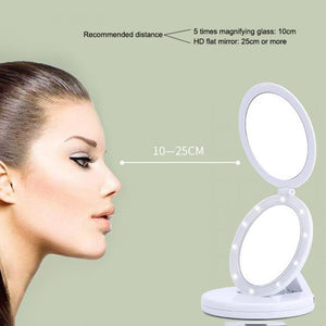 Dual Lighted LED Travel Magnifying Mirror