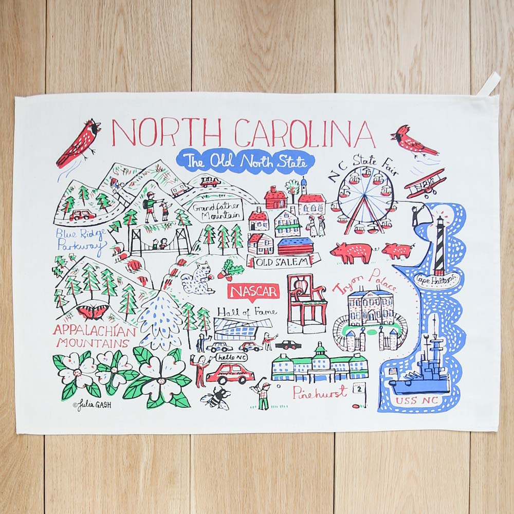 Illustrated North Carolina Kitchen Towel
