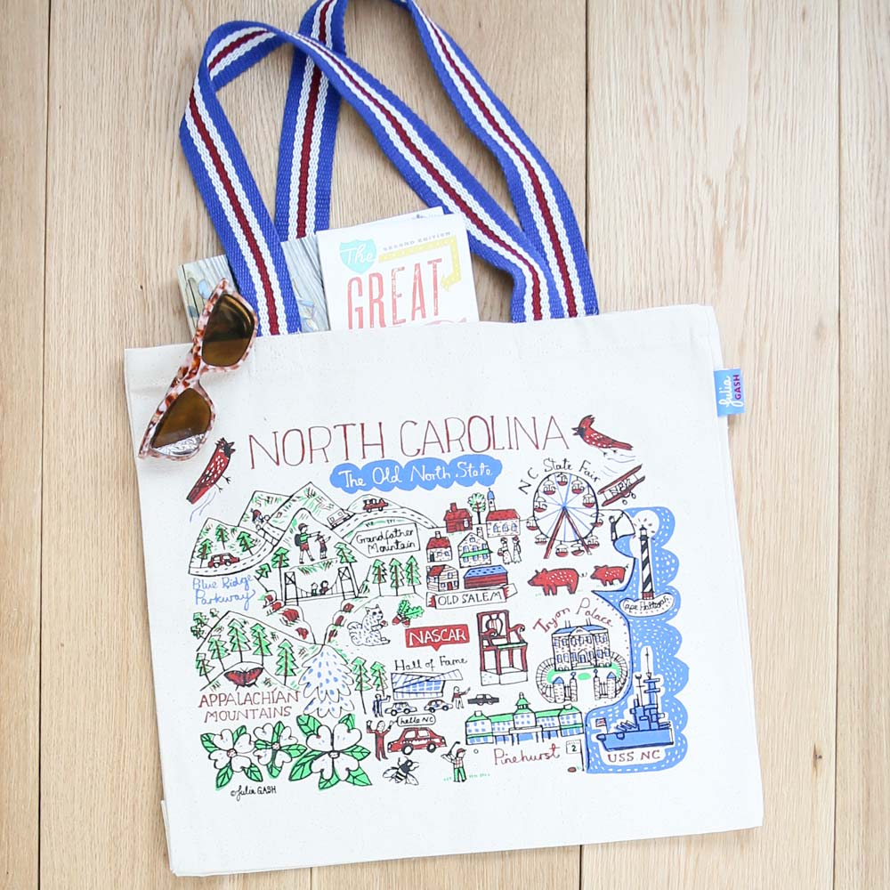 Illustrated North Carolina Tote Bag