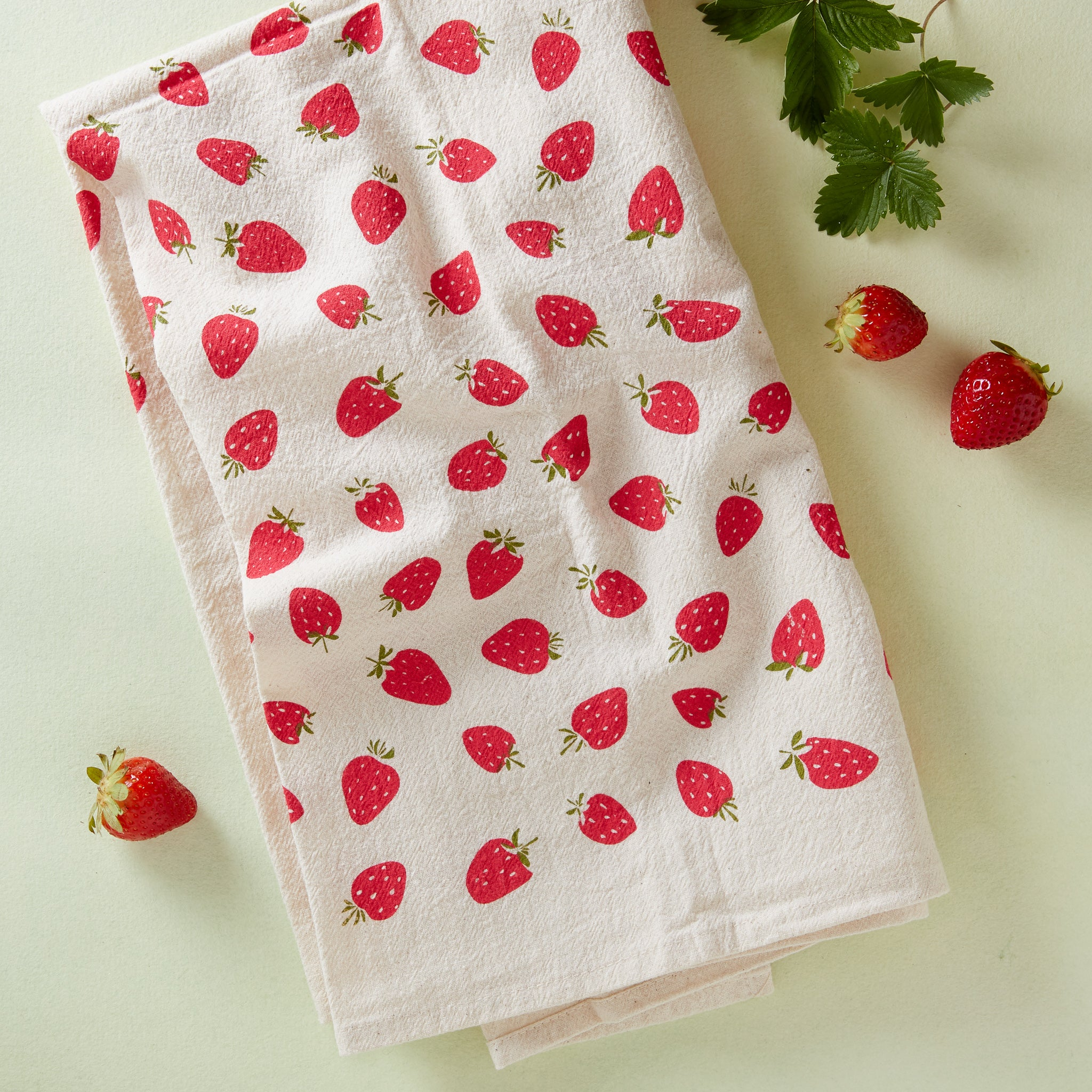 Hand-Printed Strawberry Towel