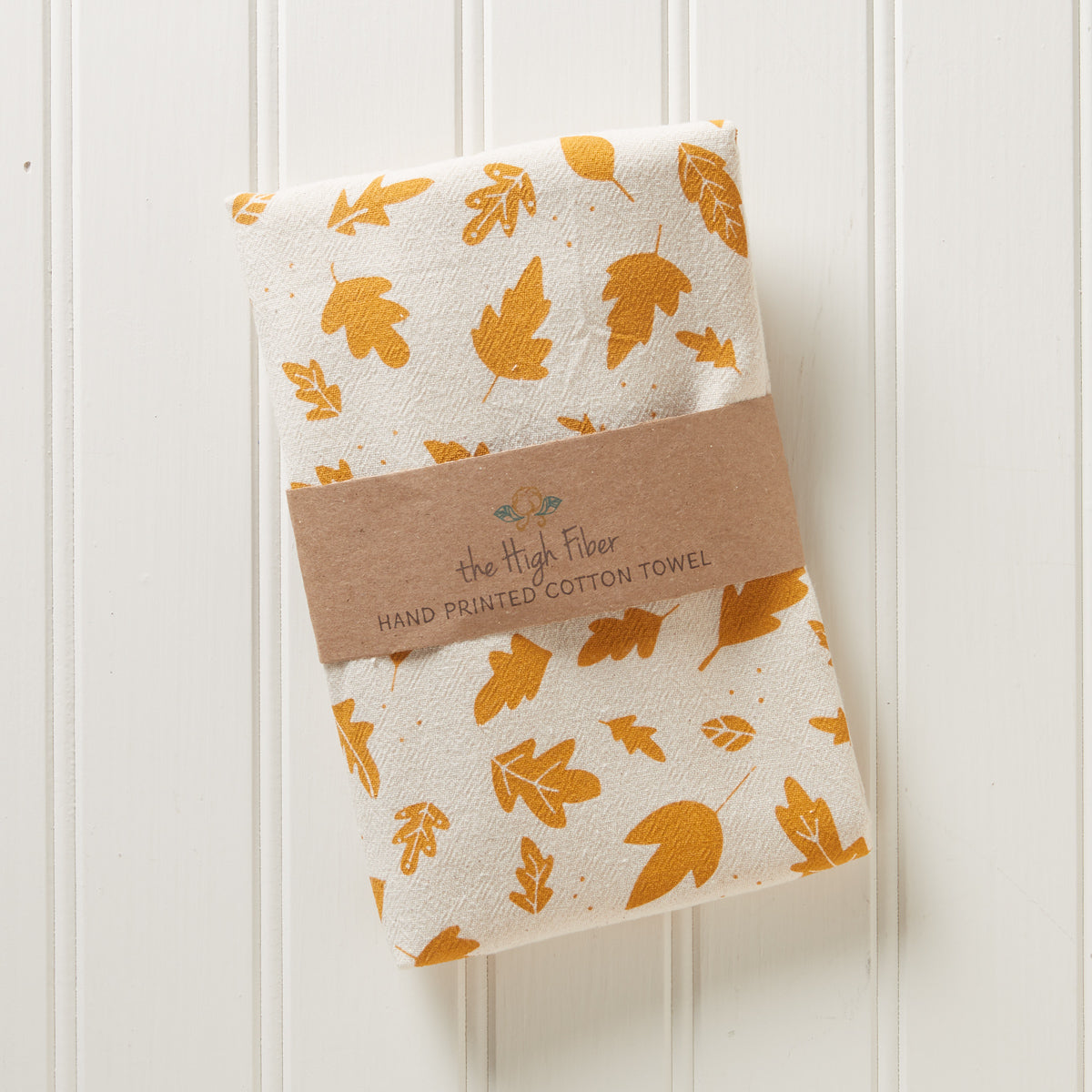 Hand-Printed Leaves Towel