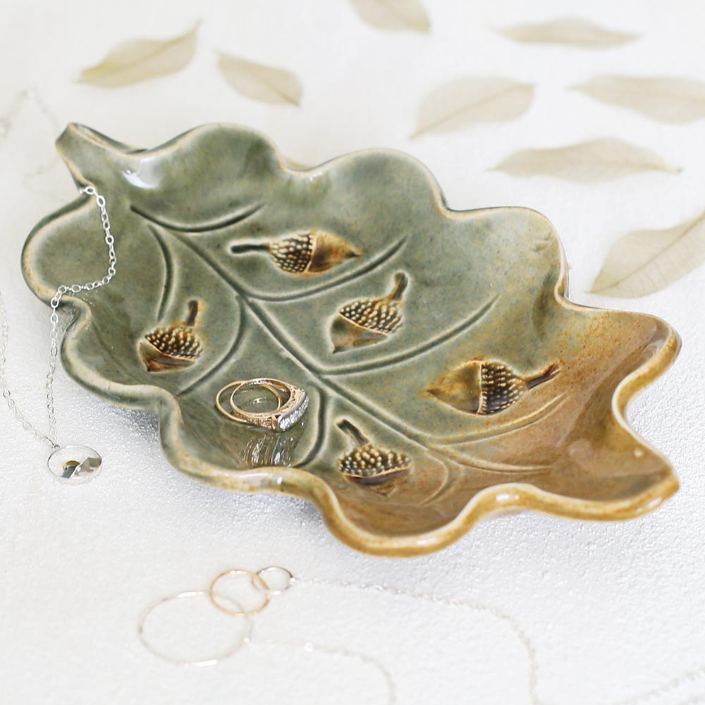 Pottery Acorn Jewelry Dish