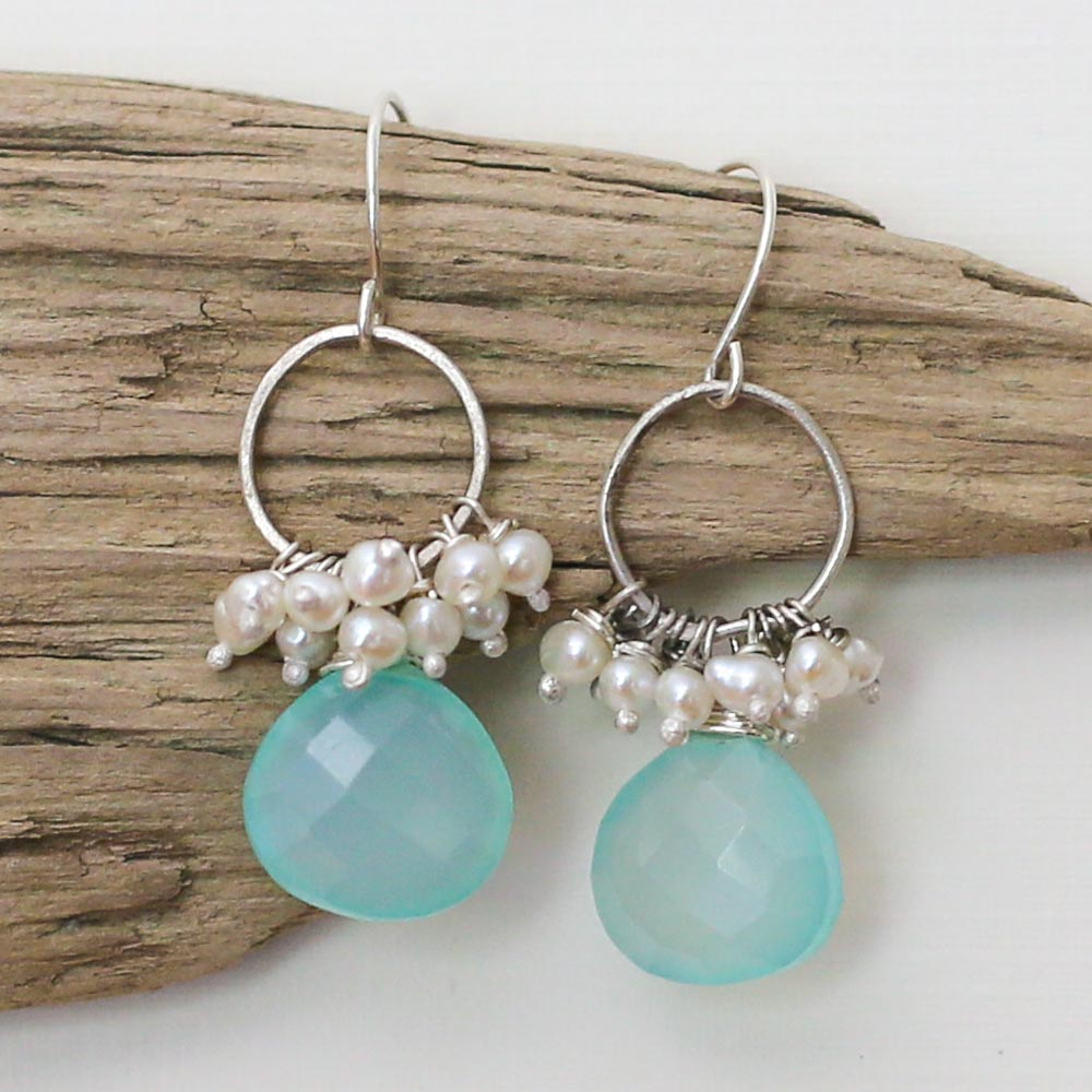 Aqua Chalcedony and Freshwater Pearl Earrings