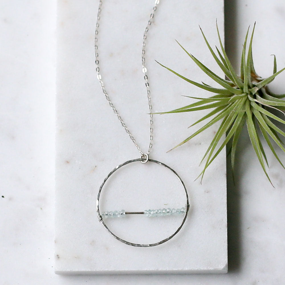 Aquamarine Hoop Necklace