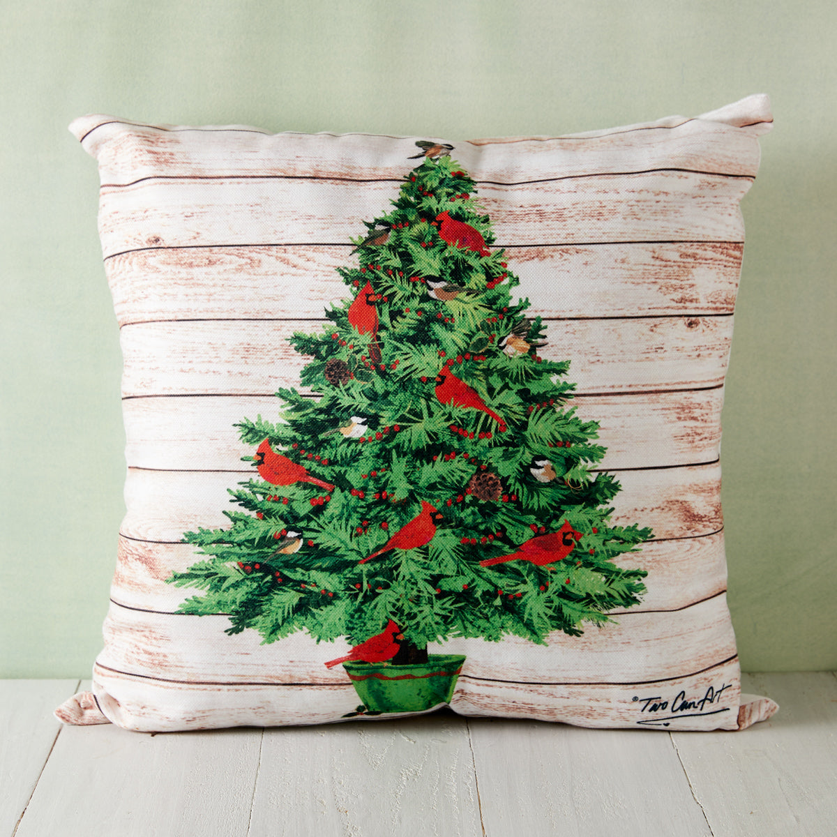 Cardinal Christmas Tree Indoor/Outdoor Pillow