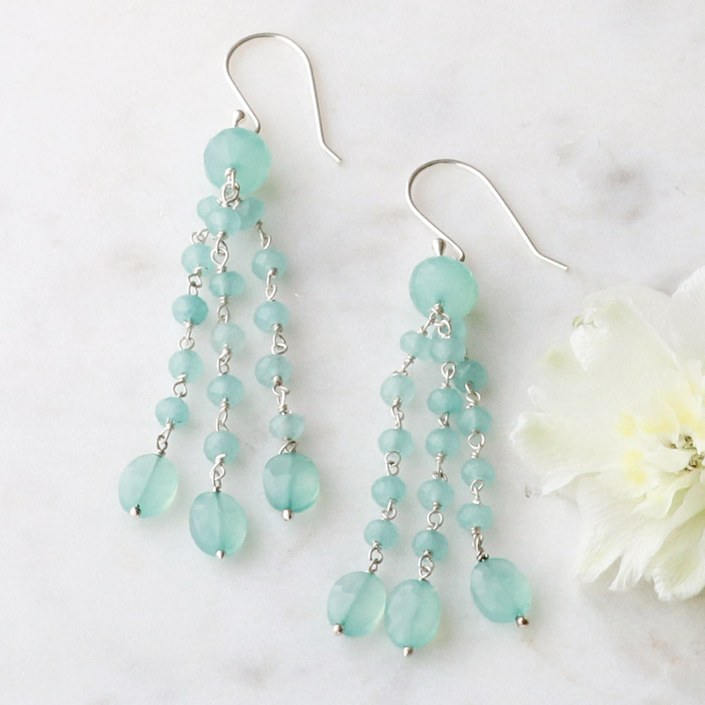 Cascading Chalcedony Earrings