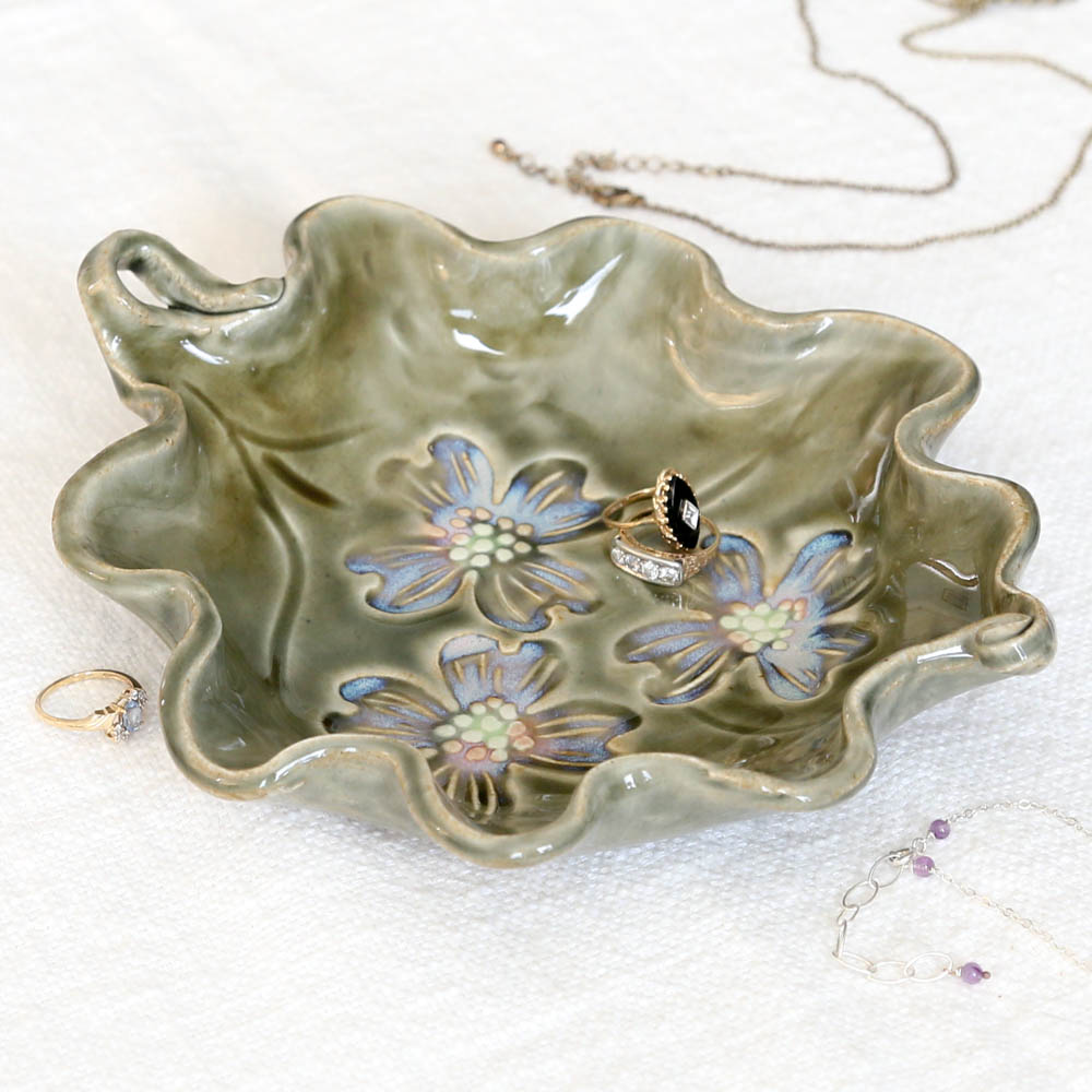 Pottery Dogwood Jewelry Dish