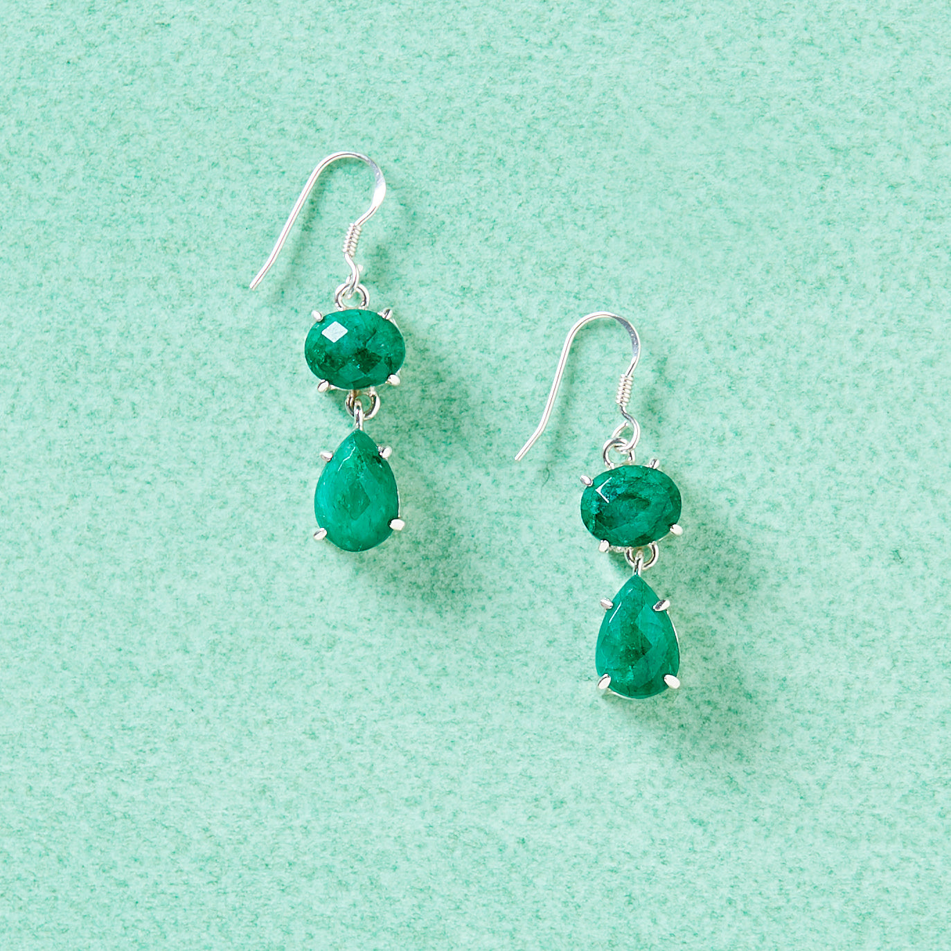 Drops of Emerald Statement Earrings