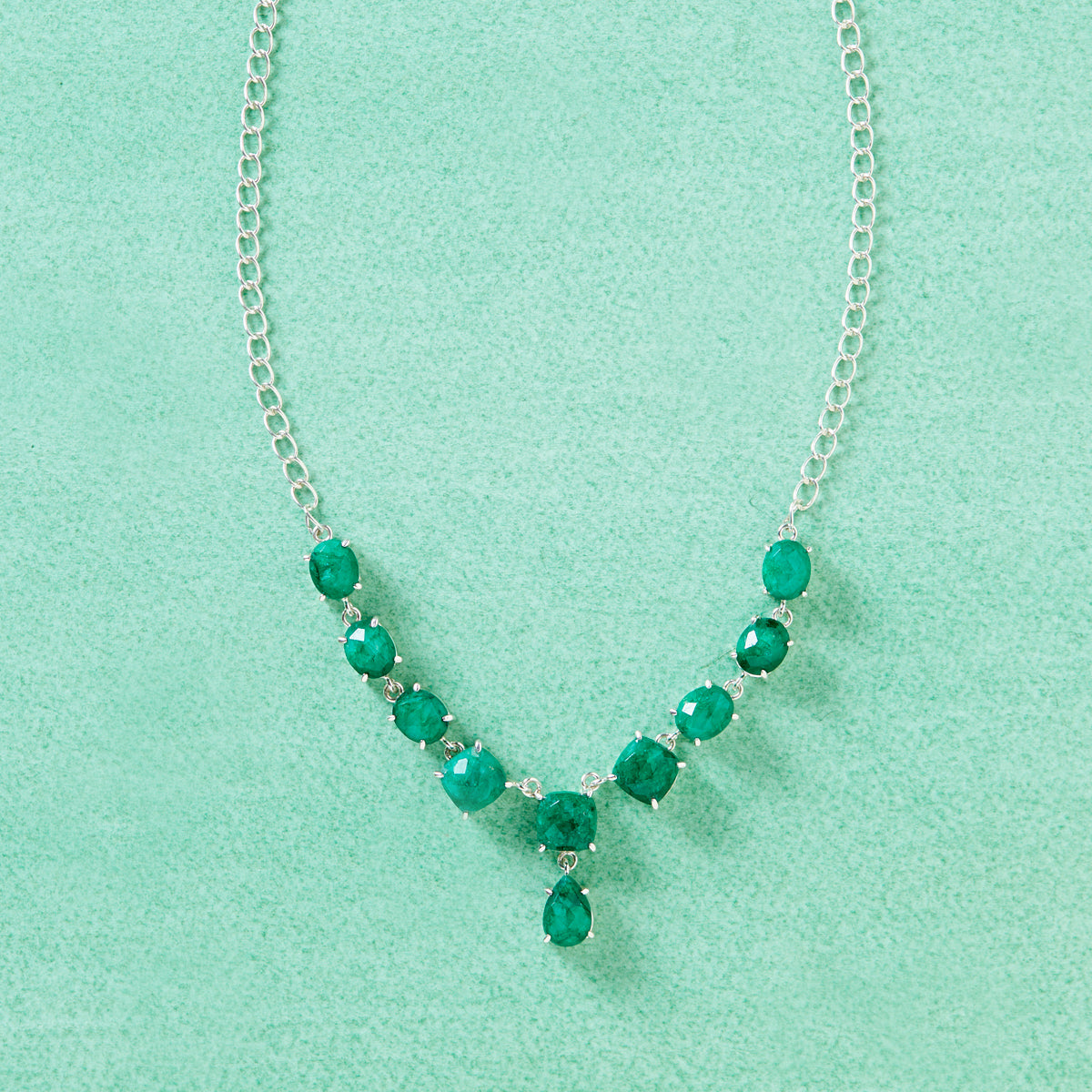 Drops of Emerald Statement Necklace
