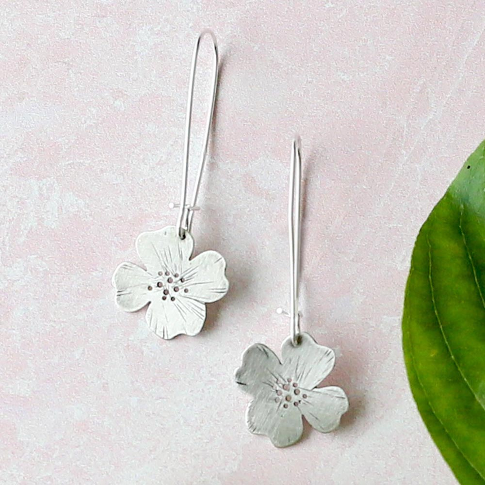 Etched Dogwood Earrings