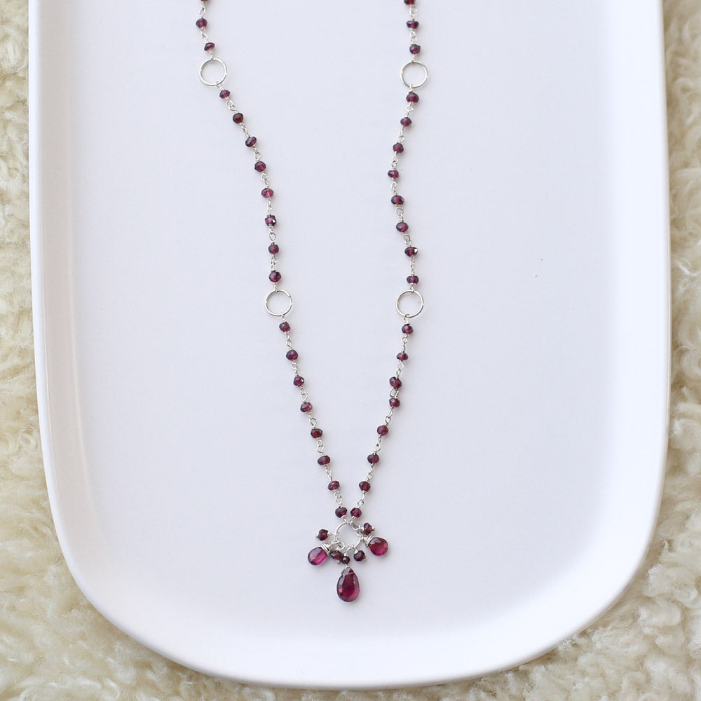 Garnet Cluster Necklace