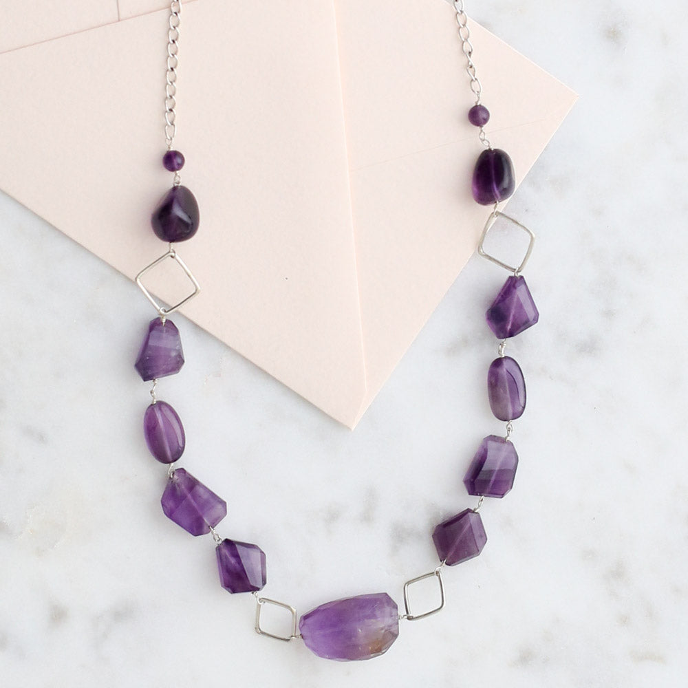 Geometric Amethyst Necklace