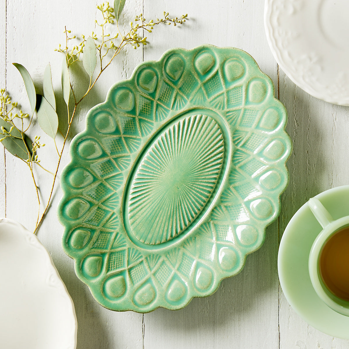 Green Imprinted Dish