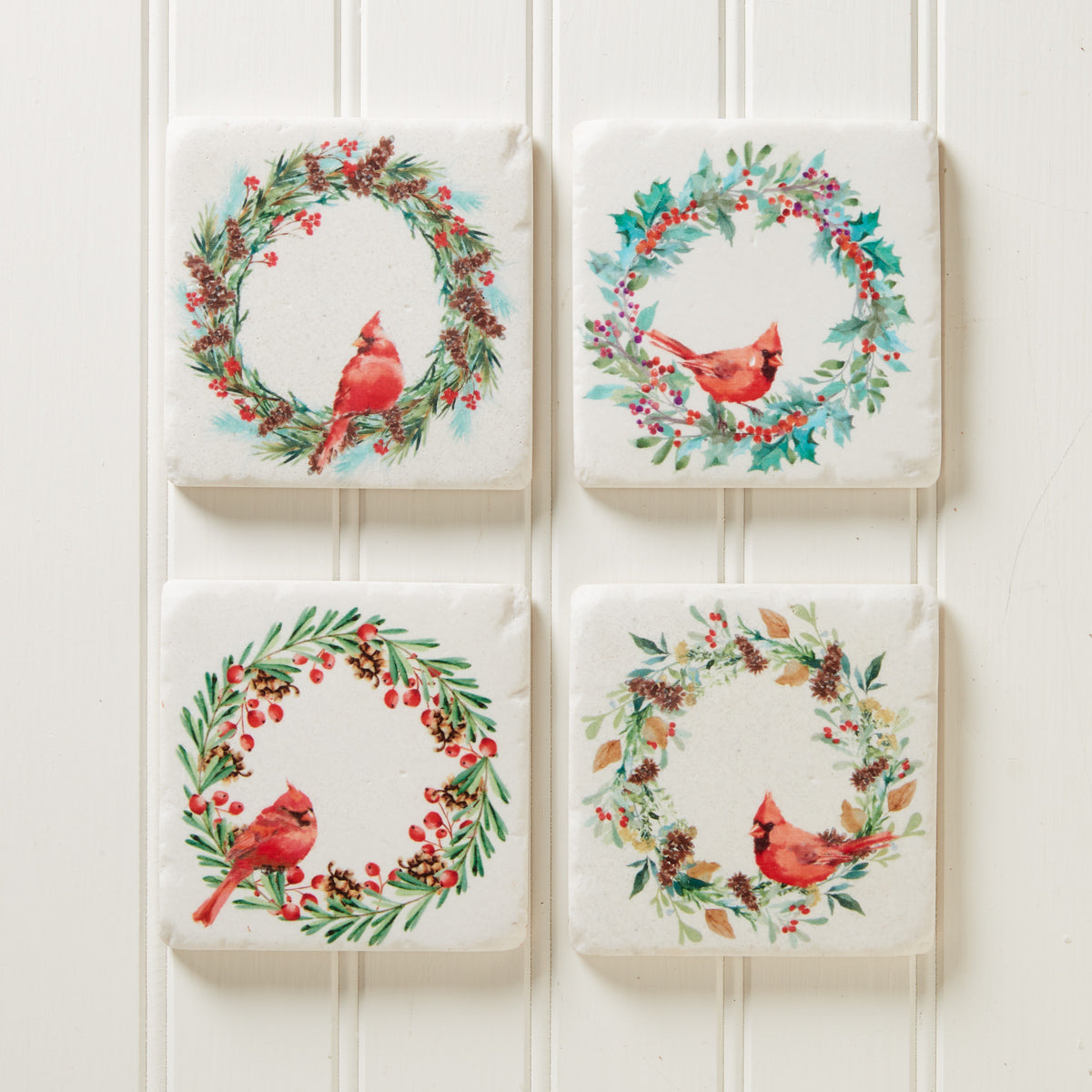 Cardinal Holiday Wreath Coaster Set