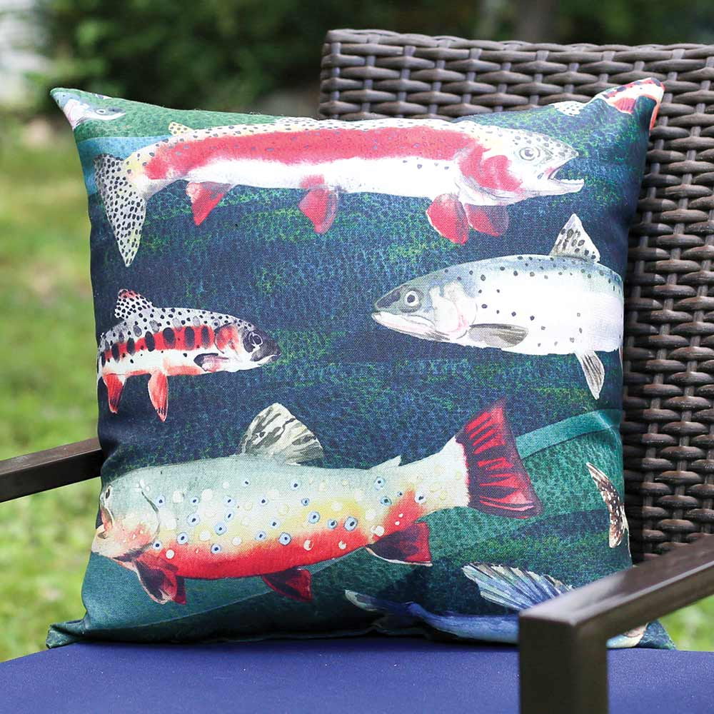 Indoor/Outdoor Lake Fish Pillow
