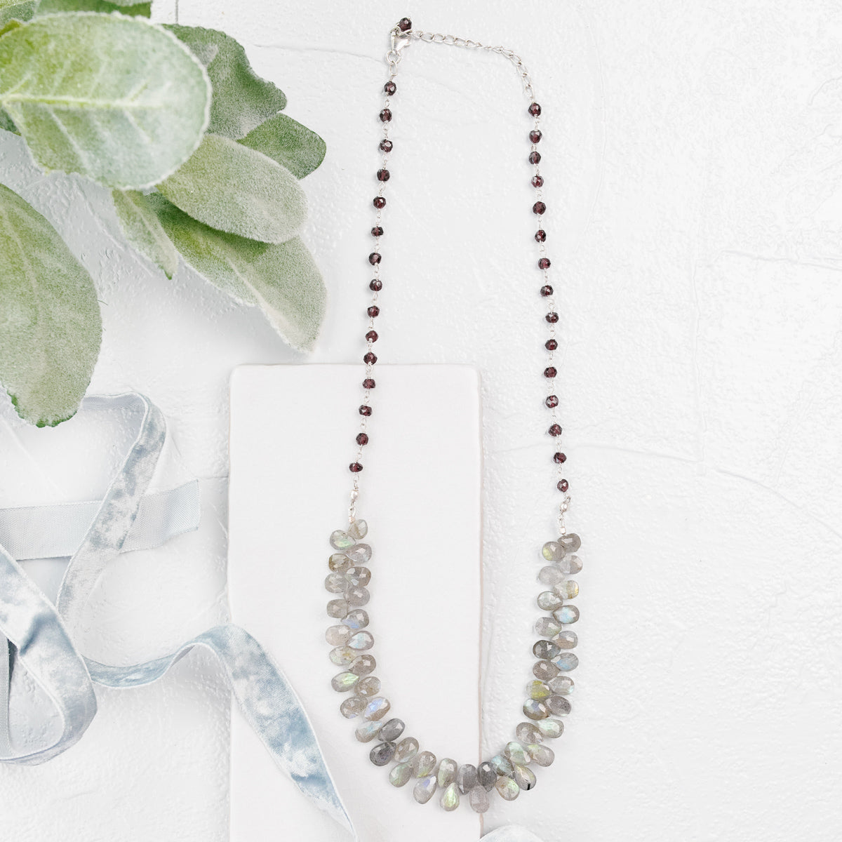 Garnet Labradorite Statement Necklace
