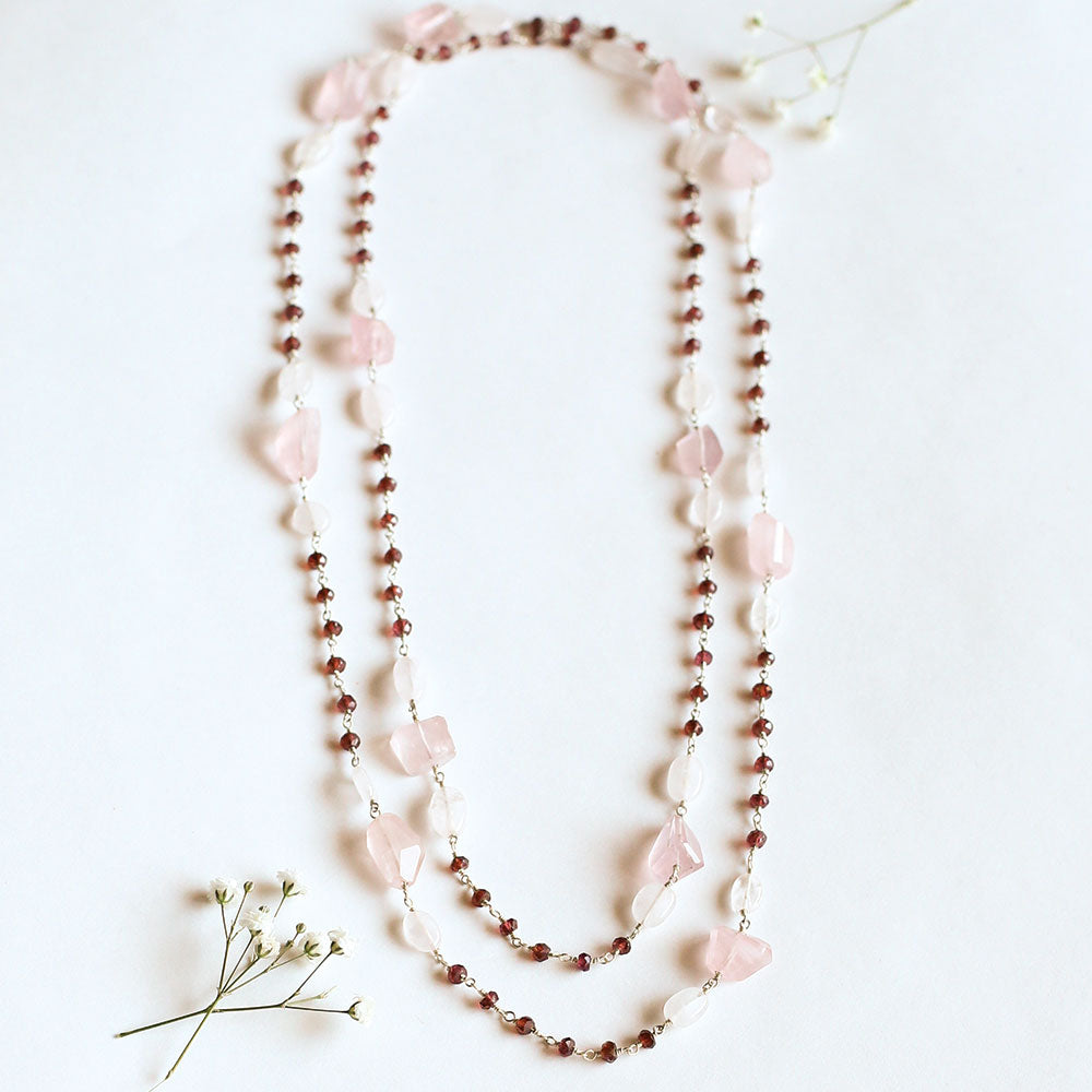 Long Garnet & Rose Quartz Necklace