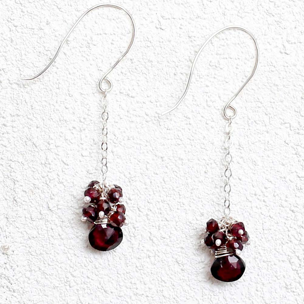 Multi-Strand Garnet Earrings