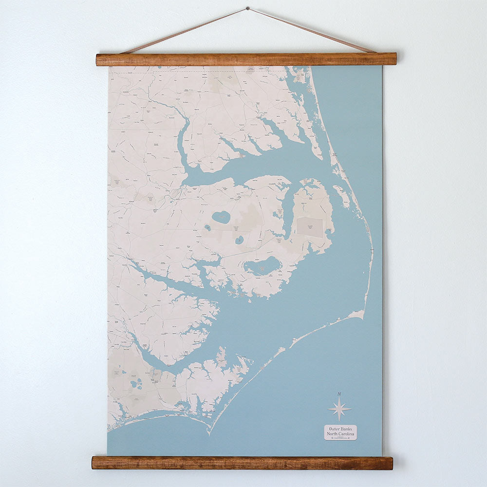 North Carolina Coastal Scroll Map
