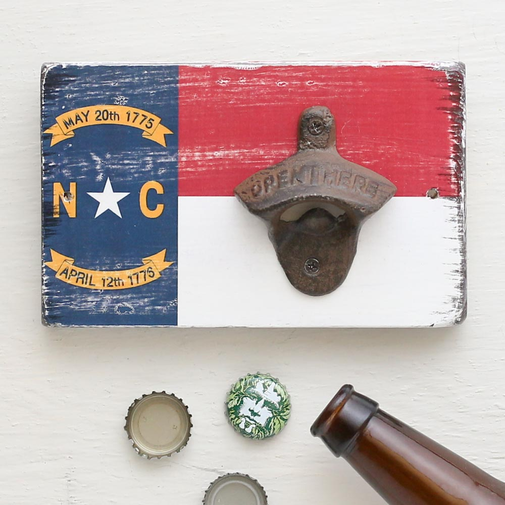 North Carolina Flag Bottle Opener Wall Hanging