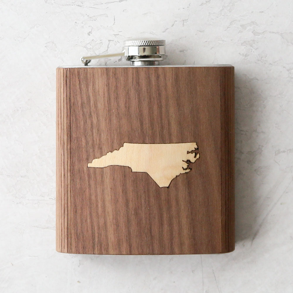 North Carolina Wooden Inlay Flask
